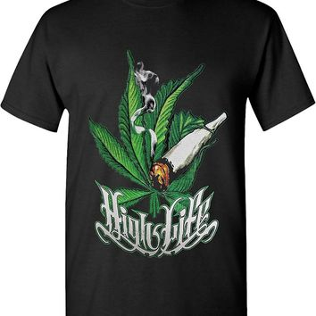 High Life Smoking Joint Marijuana 420 Solid Graphic T-Shirts