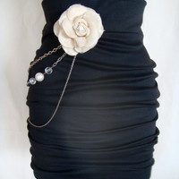 Fancy Black Knit Pencil Skirt w/ Chain and Flower Detail.