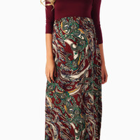 Burgundy-Leaf-Printed-Bottom-3/4-Sleeve-Maternity-Maxi-Dress