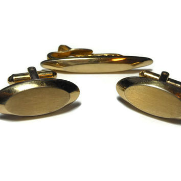 Hickok cufflinks gold and tie tack clip, signed, engravable, oval gold