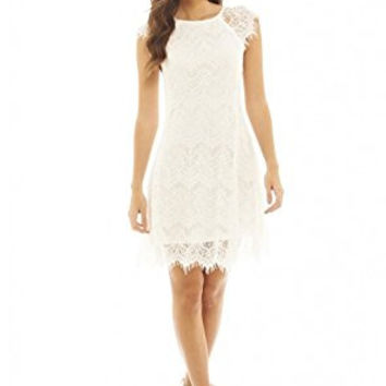 Cream Capped Sleeve Crocheted Lace Midi Dress