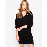 V-neck Long Sleeve Pullover Hoodies One Piece Dress [6338696260]