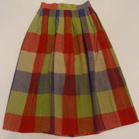 40s 50s skirt vintage plaid xs s womens