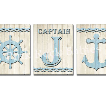 Nursery wood wall art nautical decor baby boy room decoration kids room poster playroom decoration bathroom artwork anchor captains wheel