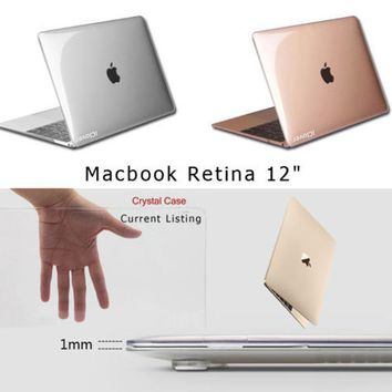 """iClover Transparent Crystal Plastic Hard Clear Laptop Shell Case Cover Skin For Apple New MacBook 12"""" Retina"""