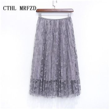 2018 women skirts bud silk skirts long pleated skirt of tall waist show thin posed the a - line skirt autumn/winter skirt