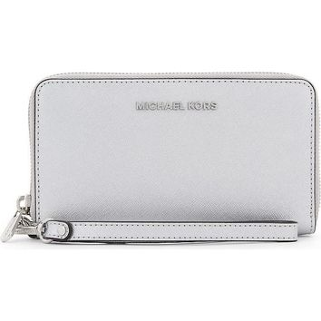 Michael Kors Silver Saffiano Leather Jet Set Purse/ Wallet/ Wristlet