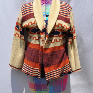 1970s CARDIGAN SWEATER / Native Inspired Bell Sleeve Cardi Vintage SIROCCO