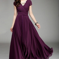 Wrapped V-neck High Waist Maxi Dress = 1956720196