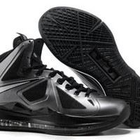nike lebron 10 x metallic silver and black diamond mens sneakers