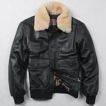 Avirexmen air force flight jacket fur collar genuine leather jacket