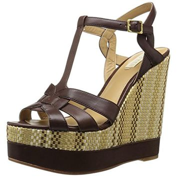Lauren Ralph Lauren Womens Maeva Leather T-Strap Wedge Sandals