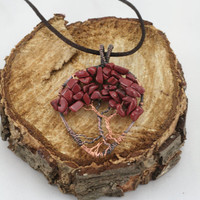 Red Jasper Tree of Life Pendant Raw Copper Wire Wrapped Cabochon with Chain