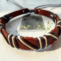 Graduation Gift Tiny Fashion stylish Brown Leather Cuff Weaved Brown White Cotton rope Wrap Bracelet C-36