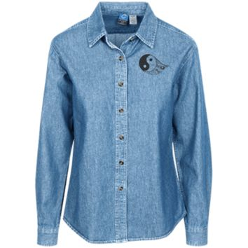 Gothic Yin Yang Women's LS Denim Shirt