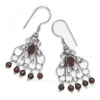 Ornate Scroll French Wires With Garnets