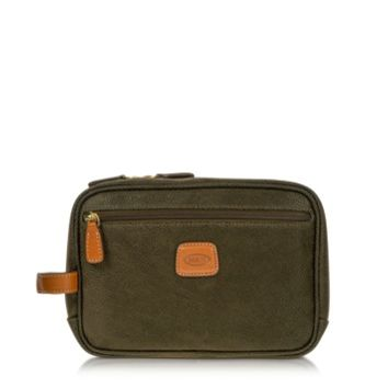 Bric's Designer Travel Bags Life - Olive Green Micro Suede Travel Case