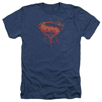 Adult Batman Vs Superman/Tech Super Logo Heathered Short Sleeve