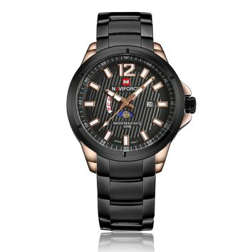 NAVIFORCE 2018 Luxury Fashion Stainless Steel Men Business Watch Quartz Calendar Water-Proof Man Watch Moon Phrase Function
