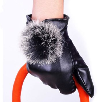 Black Leather Gloves Rabbit Faux Fur