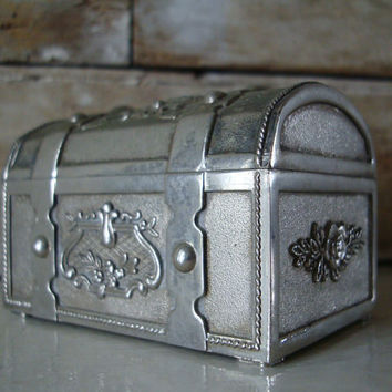 Vintage Jewelry or Trinket Domed Treasure Chest  Metal Box Unique