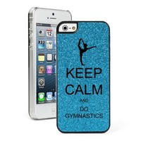 Blue Apple iPhone 5c Glitter Bling Hard Case Cover CG225 Keep Calm and Do Gymnastics