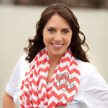 Monogrammed Infinity Scarf - Chevron - More Colors - Houndstooth