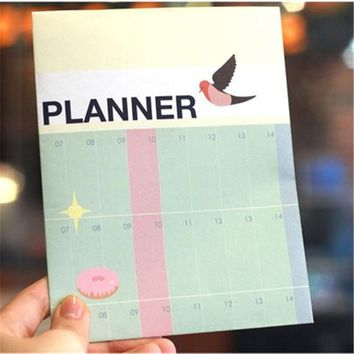 DCCKL72 Half Year Planner Notebook Big Size Learning Working Plan Table For Kids School Supplies Korean Stationery Free Shipping 341