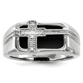 Sterling Silver Black Onyx and Diamond Cross Men's Ring