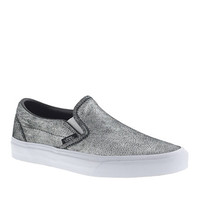 J.Crew Womens Unisex Vans Classic Slip-On Sneakers In Metallic Silver Leather
