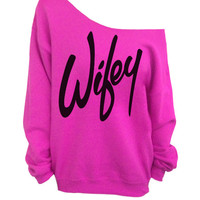 Wifey - Pink Slouchy Oversized Sweatshirt for Bride