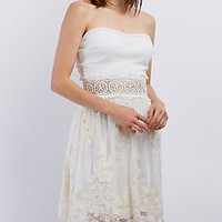 CROCHET WAIST STRAPLESS DRESS
