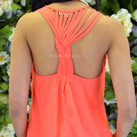 SZ MEDIUM Sandy Cove Coral Braided Racer Back Tank