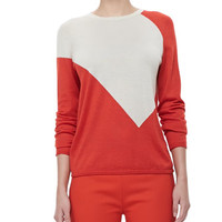 Derek Lam Crewneck Colorblock Sweater & Side-Zip Ankle Pants