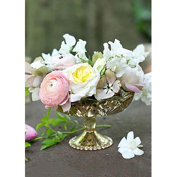 "Carraway Gold Mercury Glass Flower Vase - 4.25"" Tall x 5.25"" Wide - SPECIAL"