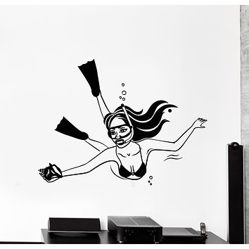 Vinyl Wall Decal Woman Underwater Diving Shell Girl In Swimsuit Stickers Mural (g316)