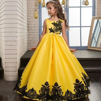 Autumn Girls Flower Dress Baby Girl Birthday Party Dresses Children Fancy Princess Ball Gown Wedding Clothes For 6-16 Years