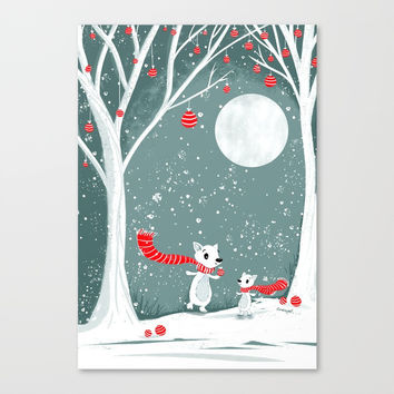Winter Foxes – Christmas in the Forest Canvas Print by sarahmwall