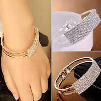 New Fashion Elegant Women Bangle Wristband Bracelet Crystal Cuff Bling Lady Gift = 1946541508