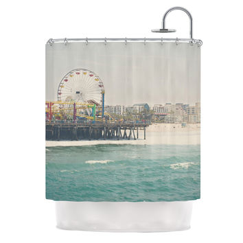 "Laura Evans ""The Pier at Santa Monica"" Coastal Teal Shower Curtain"