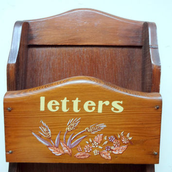 Vintage Wooden Mail and Key Holder Wall Hanging 1970s