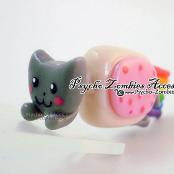Nyan cat stud earring fake plug by psychozombies on Etsy