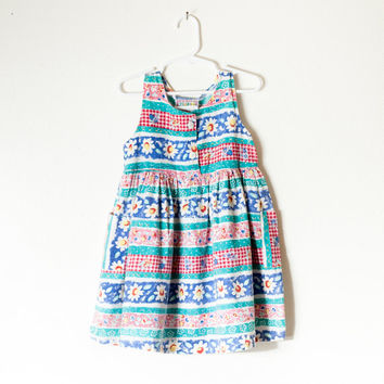 Vintage 90s Dress | 5T Girls Dress Toddler Dress Baby Girl Retro Baby Clothes Hipster Kids Floral Dress Daisy Print Babydoll Dress Grunge