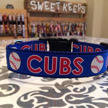 Dog Collar Made from Chicago Cubs Baseball Inspired Ribbon