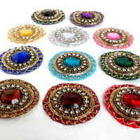 Rhinestone Appliques.Make Rhinestone Brooch. Indian Appliques for Diwali. Kundan Mandala.medallions.11 Colors.