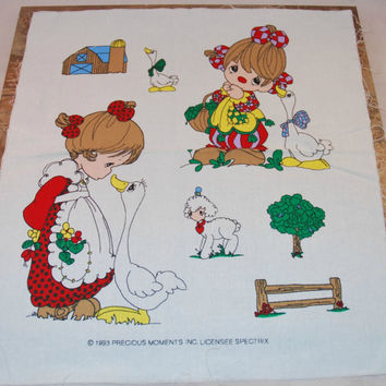 Precious Moments Cotton Appliqués (c.1993) Farmed Theme, Lamb, Geese, Barn, Adorable Girls, Craft Ideas, Pillow Decor, Sewing Quilt Project