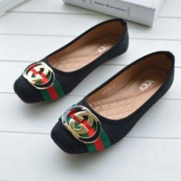 Gucci Fashion Women  Comfort flat shoes Girl Shoes Black