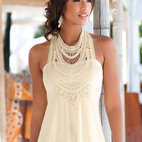 White Lace Paneled Tank Top
