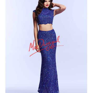 Mac Duggal 4152M Royal Blue Two Piece Crop Top Sequin Dress 2015 Prom Dresses