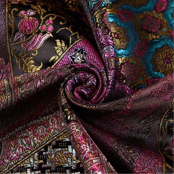 115x100cm colorful flowers style Metallic Jacquard Brocade Fabric, 3D jacquard yarn dyed fabric for clothing,bedding,bag,curtain